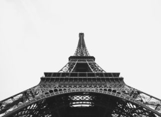 black and white shot of Paris's Eiffel Tower from below Vivaticket