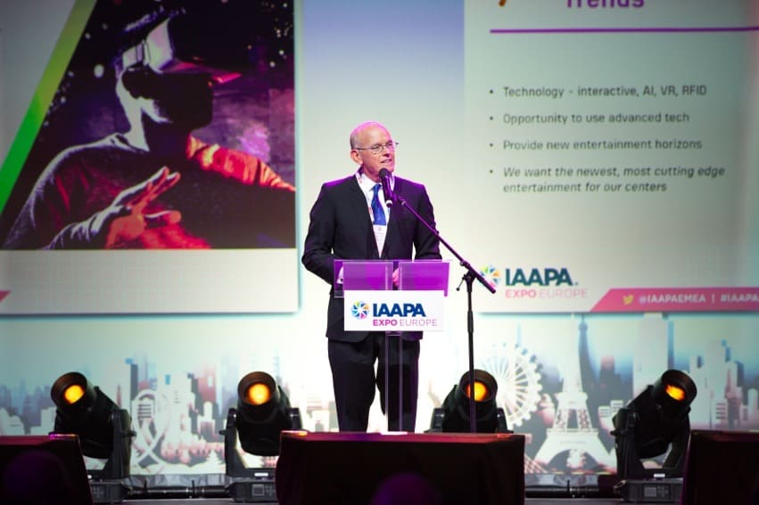 Bill Ernest, CEO of SEVEN, announcing the company's projects at IAAPA Expo Europe 2019