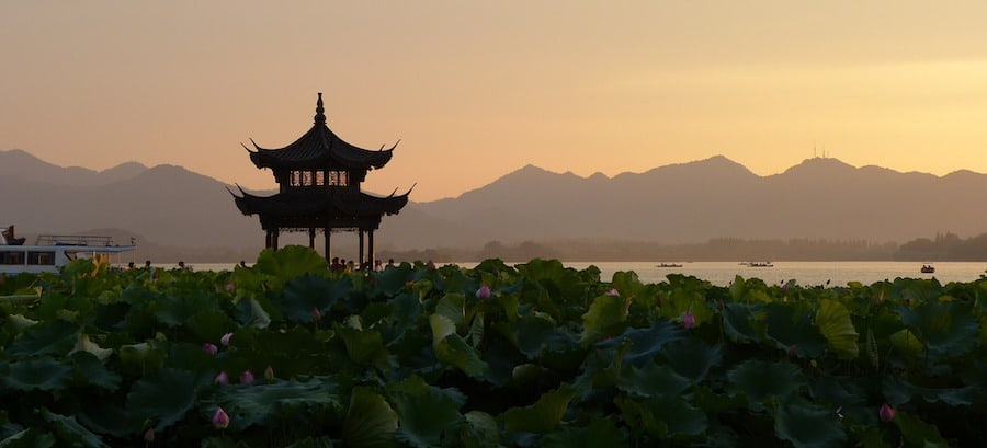 Chinese pagoda at sunset