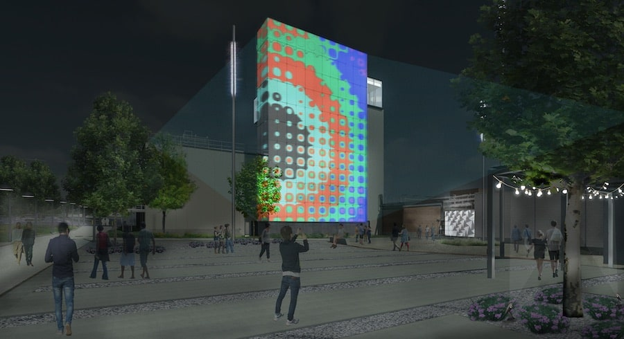 Exterior South Courtyard with projection the momentary bentonville, one of the top new museums coming in 2020
