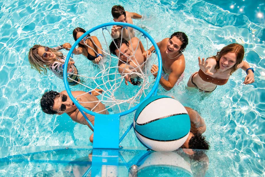 shooting hoops in the Level Up Pool at Island H2O Live