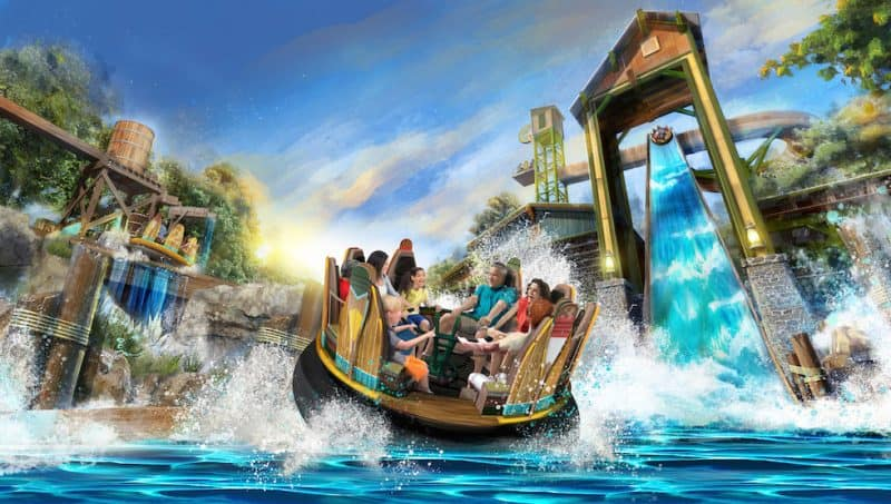 Artist impression of Mystic River Falls, Silver Dollar City, one of the best new themed attractions for 2020