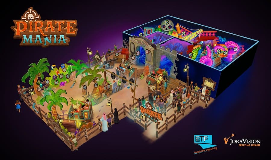 Pirate Mania, a new smaller interactive dark ride designed for FECs by ETF Ride Systems and Jora Vision