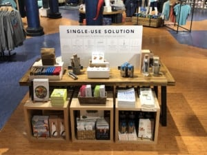 Store sign supporting solutions for single-use plastics