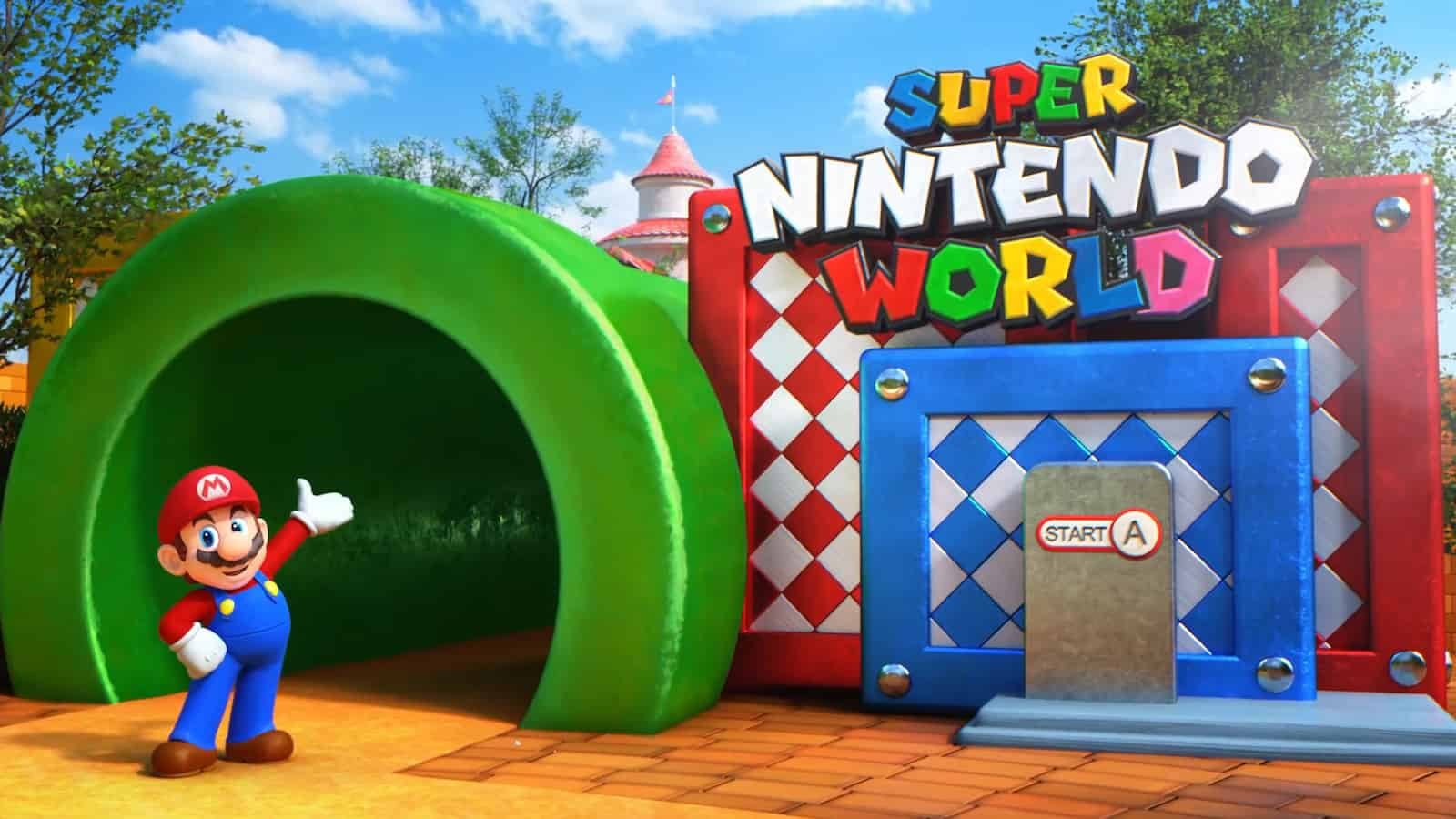Super Nintendo World green tunnel entrance mario