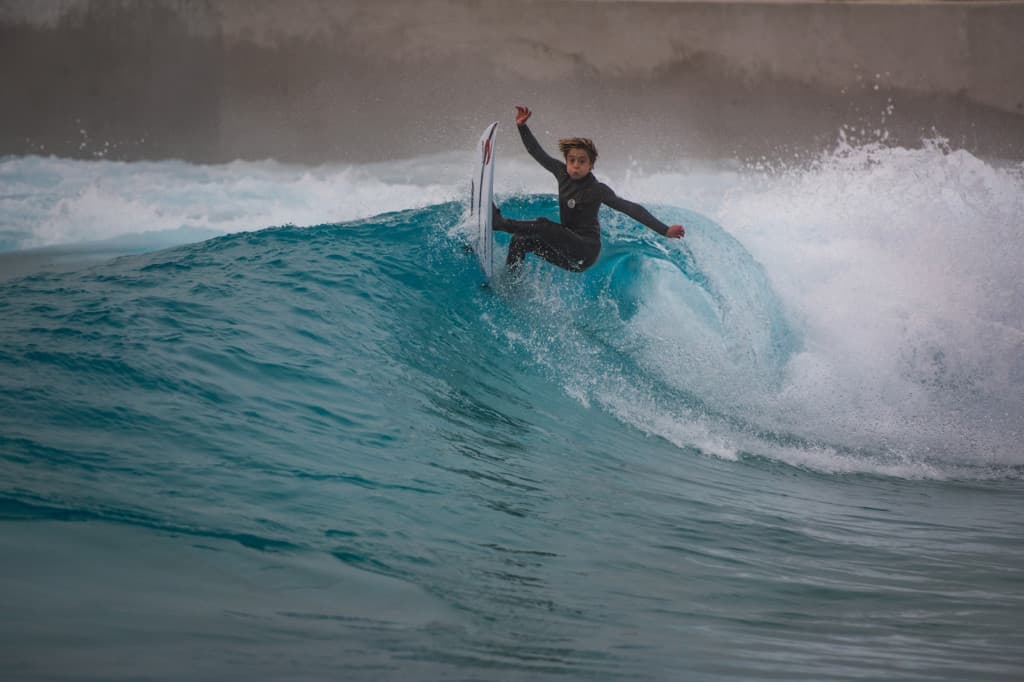 young surfer at The Wave, Bristol's new inland surfing destination