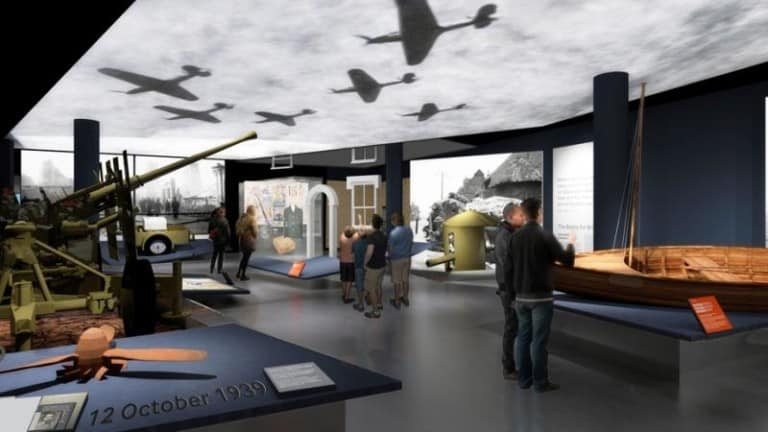 Interior of the IWM exhibition with projections from Sysco Productions