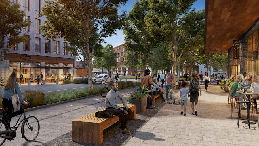 artist rendering of Facebook's proposed Willow Village in Menlo Park, California