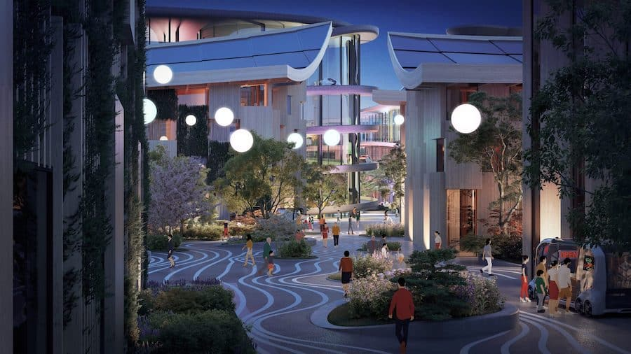 Artist rendering of a plaza at Woven City