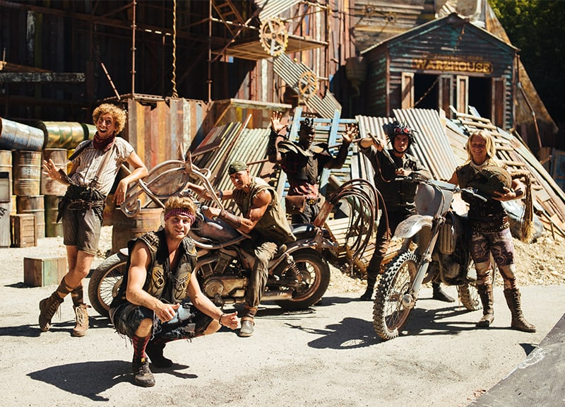 Stunt show performers at an Aniba production