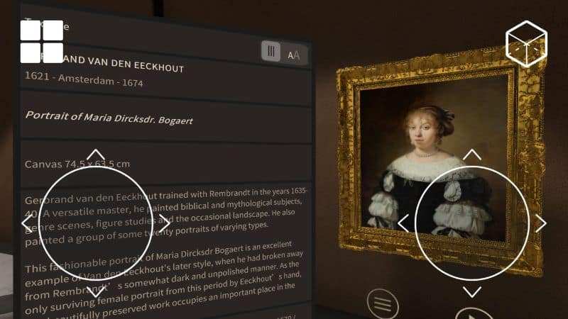 Information about a painting in the online Kremer Museum using AR technology