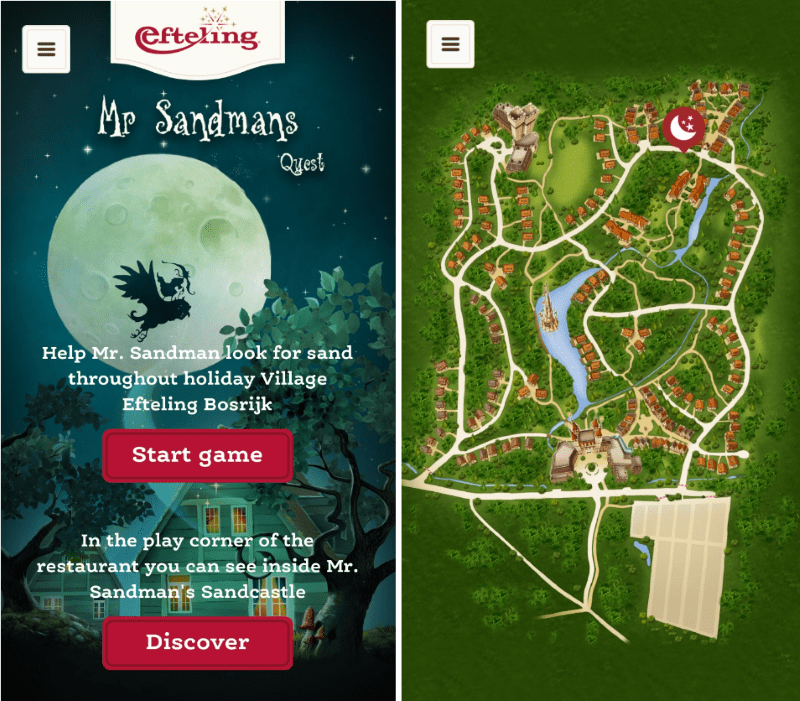 screenshots from Efteling's Mr Sandmans Quest app