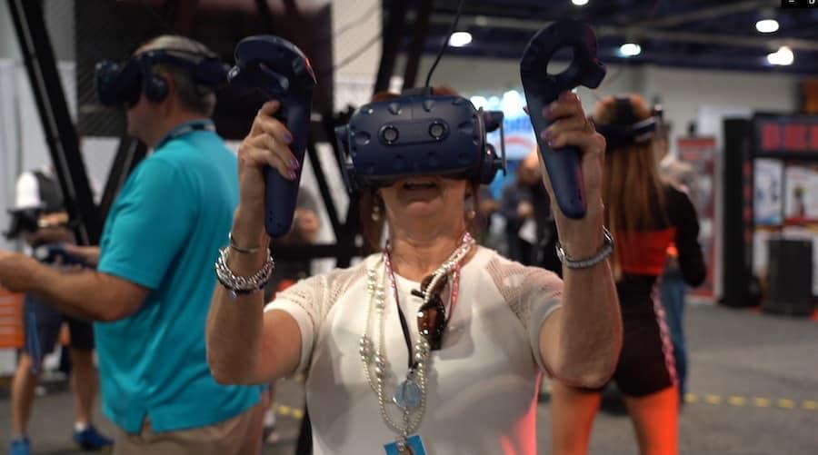 older lady playing Boxblaster VR
