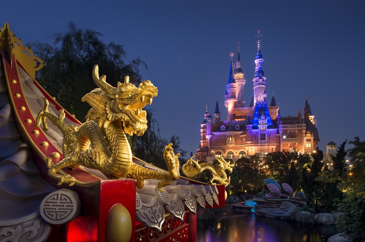 Shanghai Disney view from pagoda - changes at theme parks after COVID-19