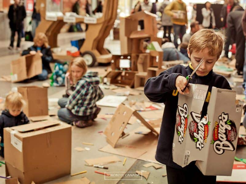 Kids at previous Cardboard Challenge