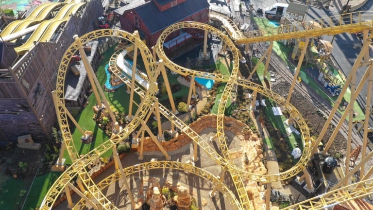 Paultons Park Tornado Springs under contruction - the attraction is delayed until 2021 due to coronavirus