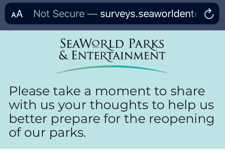 SeaWorld survey reopening