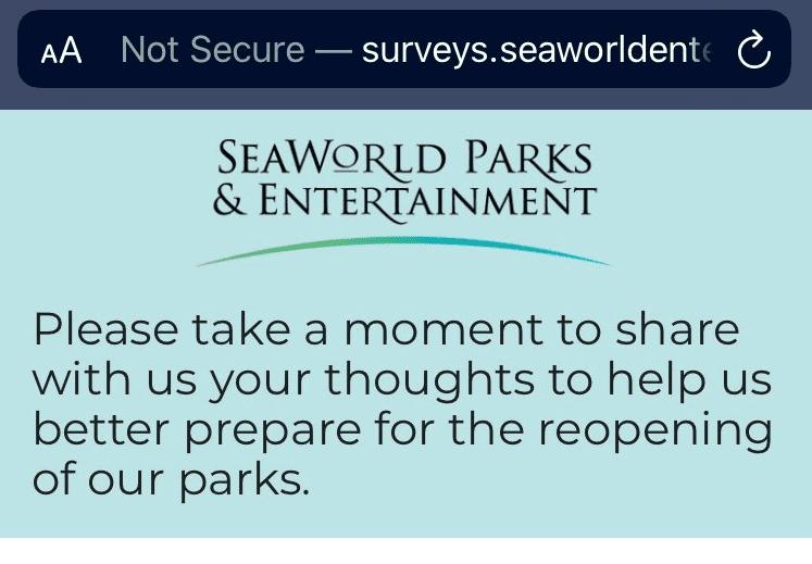SeaWorld survey reopening