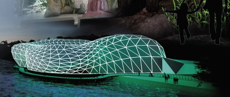 """oncept rendering of """"The AquaLab"""" exterior structure by Ross Ricupero, Charlene Karl, and Michelle Bootsma"""