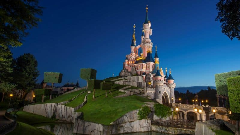 Castle at Disneyland Paris at night