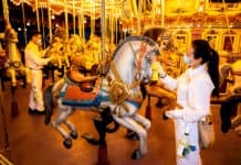 Staff cleaning carousel at Hong Kong Disneyland