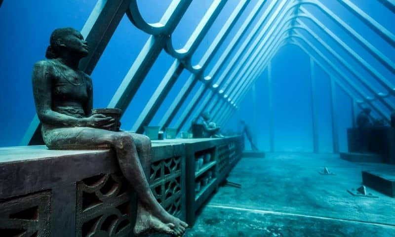 MOUA underwater greenhouse and statue