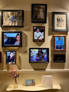 framed personal images on display
