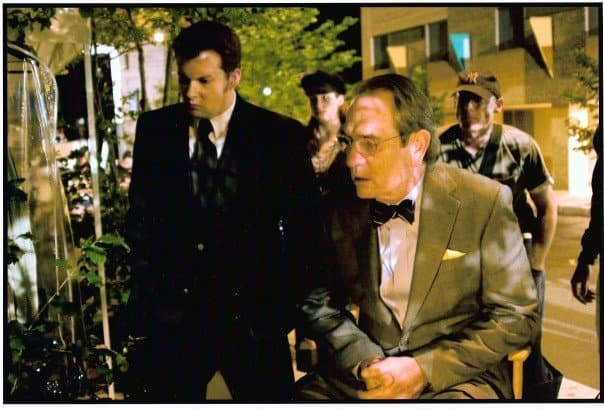 On set with Tommy Lee Jones