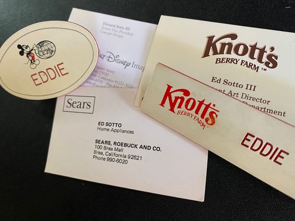 Business cards eddie sotto attractions recruitment