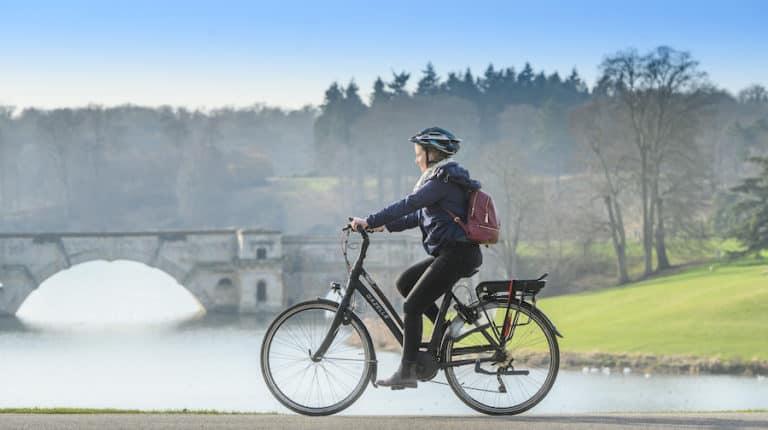 Molly on electric bike, blenheim palace