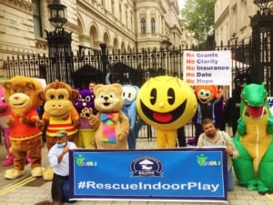 Indoor Play Mascots protesting outside Downing Street