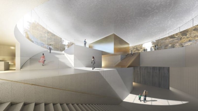 Interior rendering of new expansion for National Museum of Finland