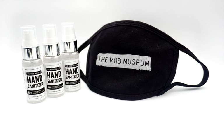 Hand sanitiser and mask created by the Mob Museum
