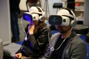 People wearing VR headset at Museum Connections event