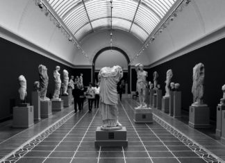 sculptures in a museum