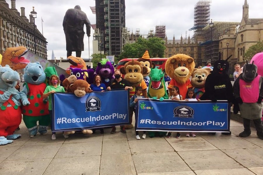 soft play mascots protesting outside Parliament