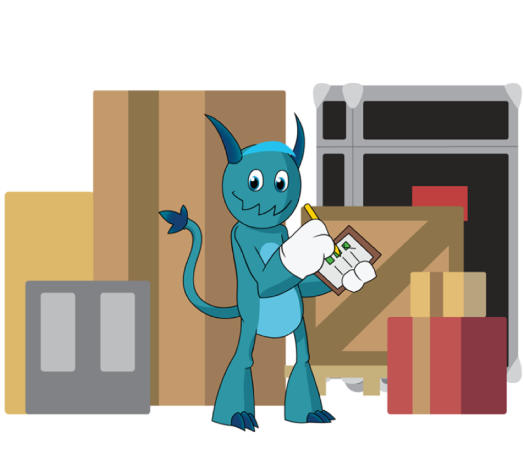 The Shipping Monster with crates graphic