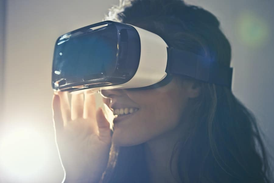 Woman with VR goggles