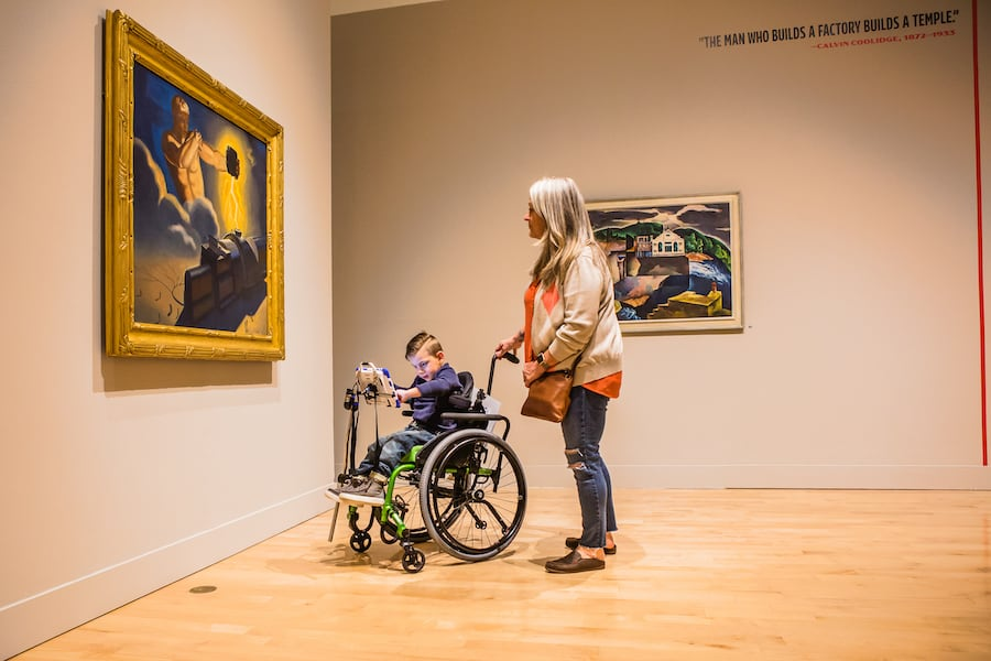 child in wheelchair at Philbrook