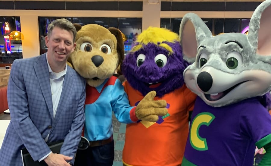 David McKillips with Chuck E. Cheese and friends
