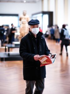 Man at Tokyo National Museum in mask