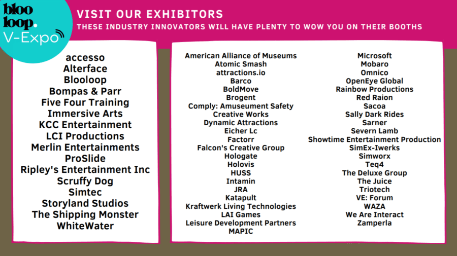 list of exhibitors at blooloop v-expo