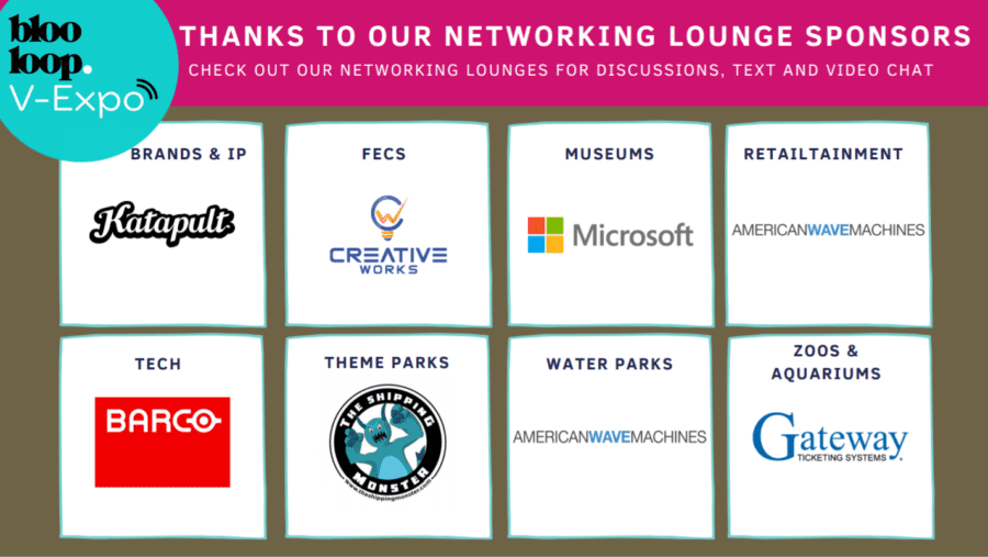 blooloop v-expo networking lounges sponsors