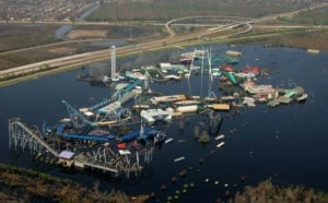 Aerial view of Six Flags New Orleans flooded