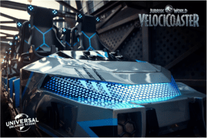 Front of ride vehicle for new VelociCoaster ride at Universal Orlando - best new extreme thrill rides 2021