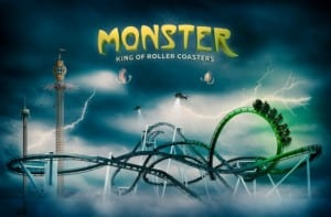 Concept art for monster roller coaster at grona lund