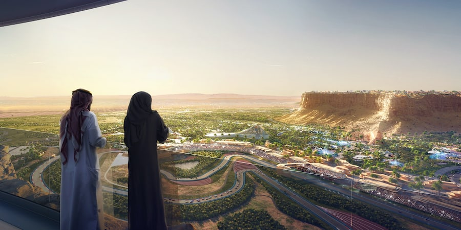 Qiddiya View of Resort Core and Speed Park from Cliff Edge Overlook attractions trends 2021 Philippe Gas