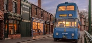 Bus and shops at Black Country Living Museum