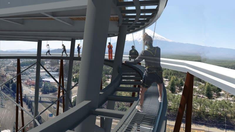 Fujiyama tower coaster observation deck, slide and sky walk at Fuji-Q