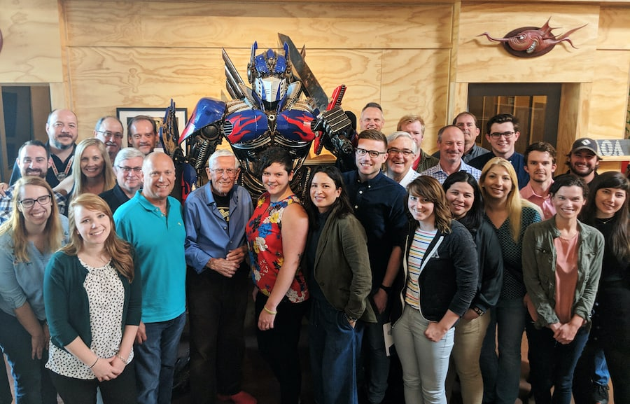 Legendary Disney Imagineer Bob Gurr visits the team at AOA. Jerre Kirk can be seen at the back, second from left